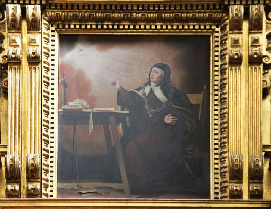 Santa Teresa recibiendo la Inspiración Divina en Carmelitas Descalzas, Sepulcro de Santa Teresa