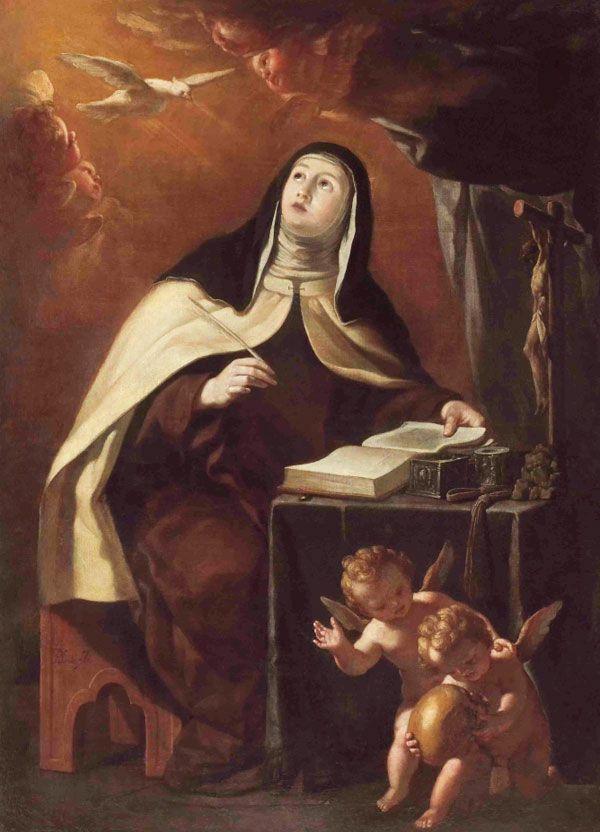Santa Teresa de Jesús escribiendo en Carmelitas Descalzas, Alba de Tormes