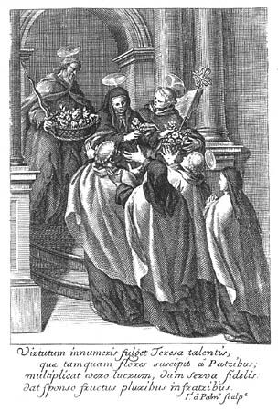 Grabado de la portada de Obras de la gloriosa madre santa Teresa de Jesús