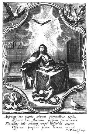 Grabado del primer folio de Obras de la gloriosa madre santa Teresa de Jesús