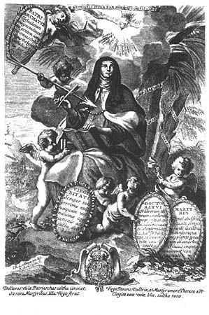 Grabado de la portada de Obras de la gloriosa madre Santa Teresa