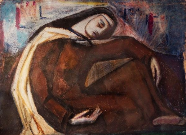 Santa Teresa sentada en la huerta