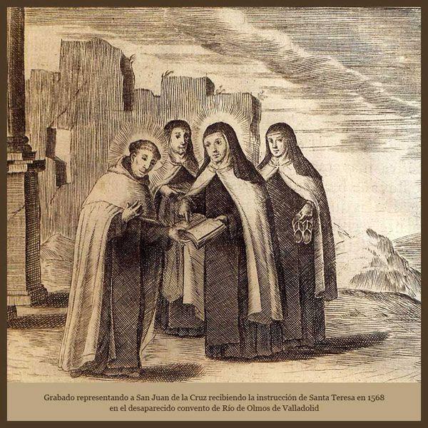 San Juan de la Cruz recibiendo la instrucción de Santa Teresa