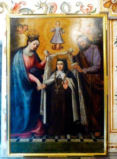 (Camerin alto) El Desposorio Santa Teresa recibiendo el collar de la Virgen y San José en Carmelitas Descalzas, Alba de Tormes