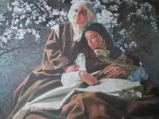 Representa la muerte de Santa Teresa de Jesús en los brazos de la Beata Ana de San Bartolomé