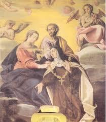 Imposición del Collar a la santa por la Virgen y San José