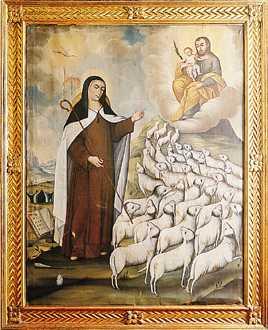 Santa Teresa llevando las almas (dibujadas como ovejas) a San José