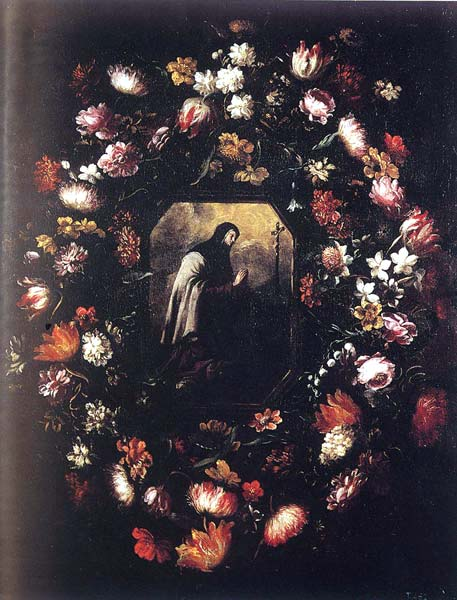 Santa Teresa de Jesús dentro de una Guirnalda