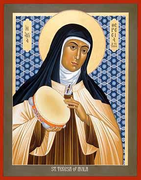 Teresa de Ávila con su famosa pandereta en Carmelitas Descalzas, Alba de Tormes