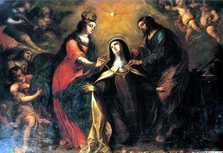 La Virgen y San José imponiendo un collar a Santa Teresa de Jesús en Carmelitas Descalzas, Sepulcro de Santa Teresa