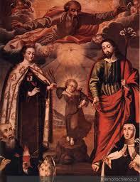 Dios Padre y la Sagrada Familia con Santa Teresa y San Agustín