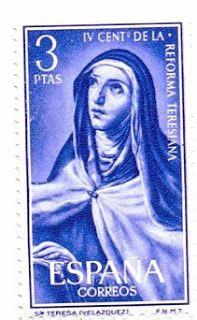Sello de 3 peseta reproduce Retrato de Santa Teresa