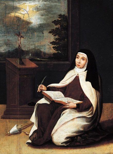 Santa Teresa de Avila escribe con la inspiración de Espíritu Santo en Carmelitas Descalzas, Sepulcro de Santa Teresa