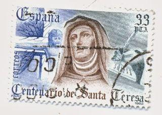 Sello de 33 pesetas IV Centenario de la muerte de Santa Teresa de Ávila en carmelitas Descalzas, Alba de Tormes