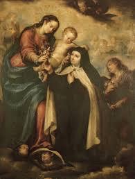 Virgen María y el Niño Jesús con santa Teresa de Jesús