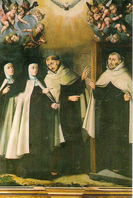 Santa Teresa de Jesús visita en Duruelo a San Juan de la Cruz y a Fr. Antonio de Jesús, primeros religiosos de su Reforma