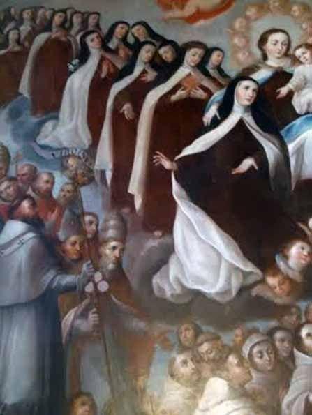 Un cortejo de santas carmelitas, presidido por la Virgen del Carmen