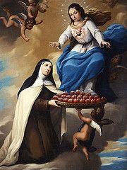 Teresa de Jesús ofreciendo corazones al Purísimo Corazón de María