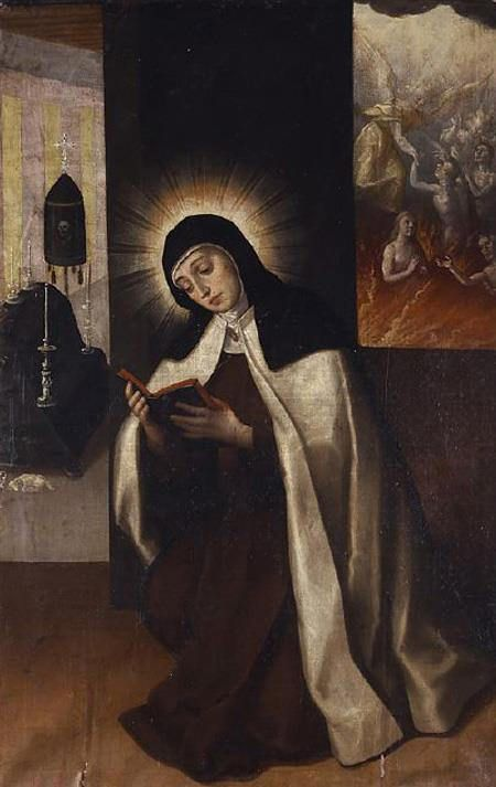 Santa teresa de Jesús orando por las almas del Purgatorio