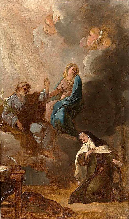 La Virgen y Santa Teresa de Ávila bajo la protección de San José