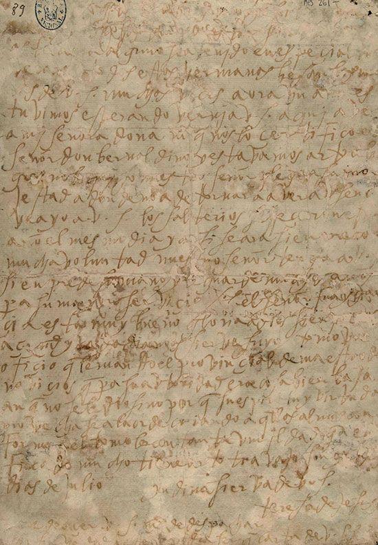 Carta autógrafa de Santa Teresa