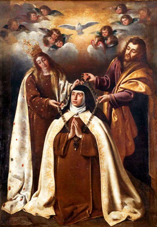 Santa Teresa recibe el collar de manos de la Virgen y San José