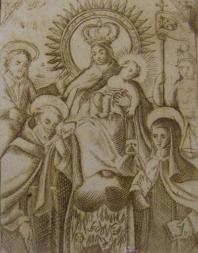 La Virgen del Carmen venerada por San Francisco de Paula y Santa Teresa