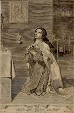 Santa Teresa arrodillada ante el Crucifijo