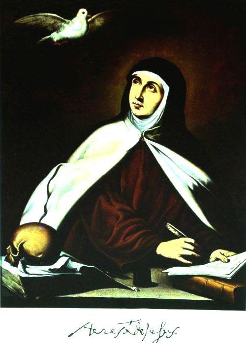 Postal con Santa Teresa y su autógrafo