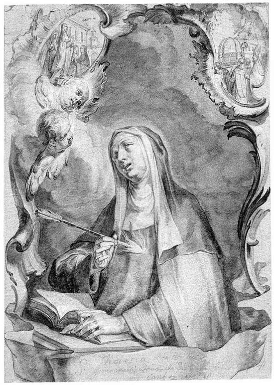 Santa Teresa de Jesús, traspasada por el dardo de oro