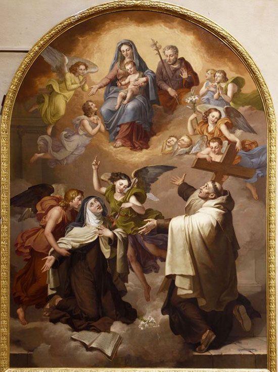 Transverberación de Santa Teresa con San Juan de la Cruz ante la Sagrada Familia
