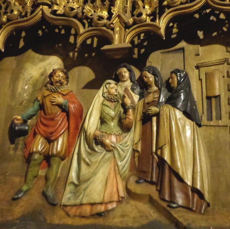 Escena relato de la vida de Santa Teresa de Jesús como monja Carmelita Descalza